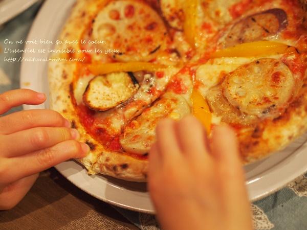 塩麹加賀野菜ピザ、子供も食べました