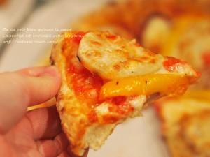 塩麹加賀野菜ピザのレンコンとパプリカ