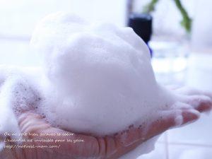 白樺石鹸の泡