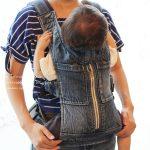 キューズベリーのデニム抱っこ紐と赤ちゃん